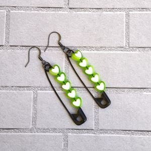 """💚Black 2"""" safety pin earrings with Green hearts"""